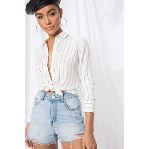 About Us Clara Button Up Top White Black XS